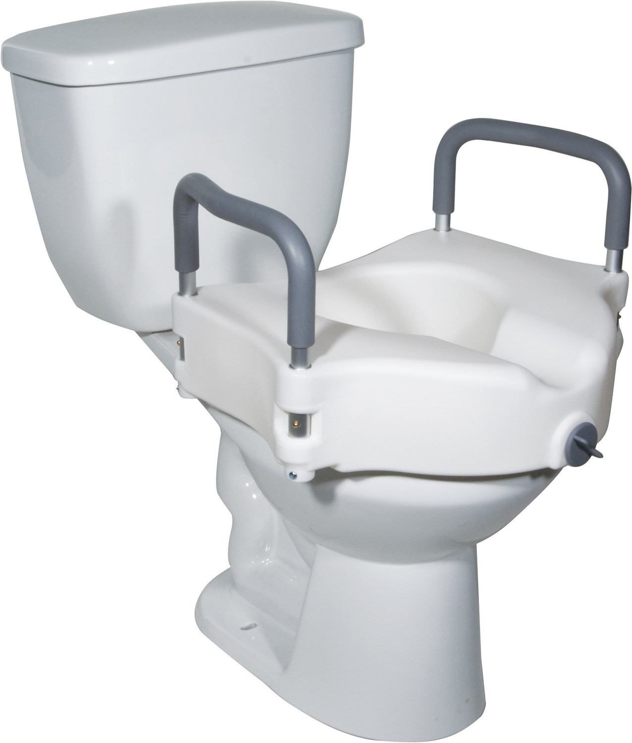 Elevated Raised Standard Toilet Seat with Removable Padded Arms