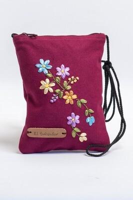 Mini bolso para documentos ocre con bordado