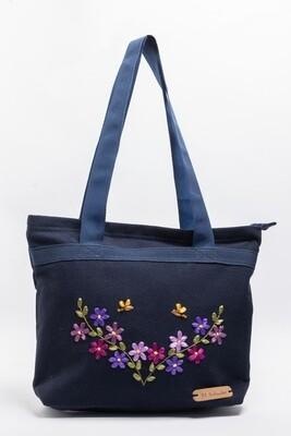 Bolso Azul bordado con listón