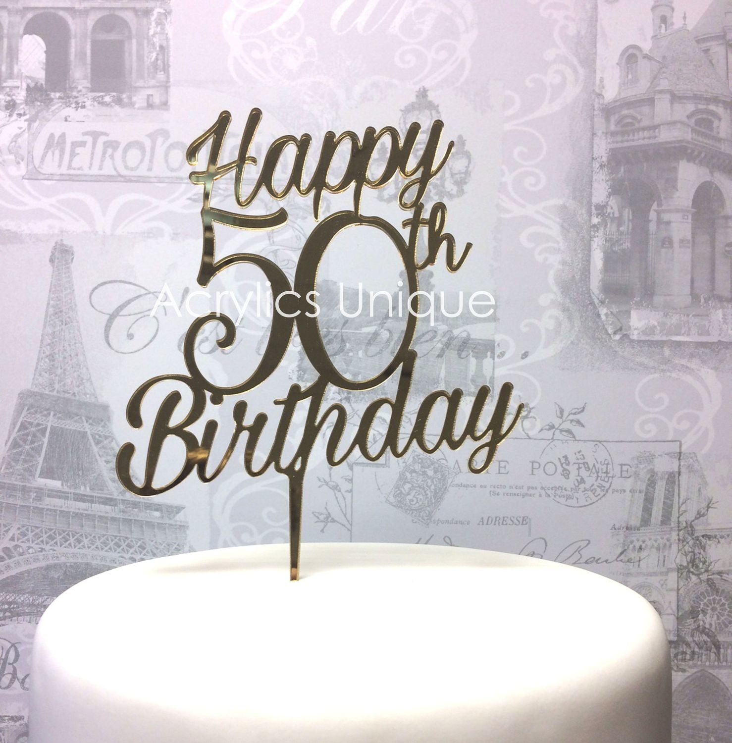 Terrific 50Th Birthday Acrylic Cake Topper Celebration Topper 18 20 30 40 Personalised Birthday Cards Veneteletsinfo