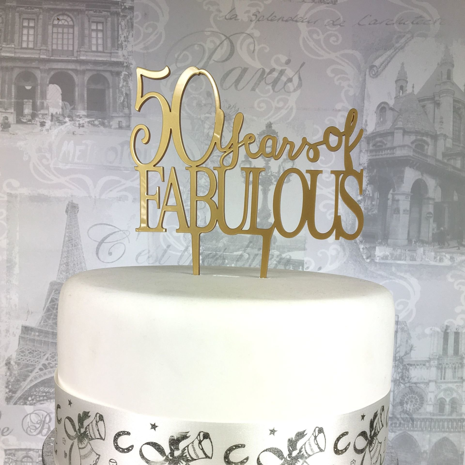 50th Birthday Acrylic Cake Topper 50 Fabulous Age 18 21 25 30 40