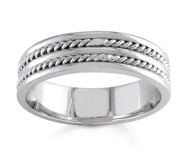 Mens 7mm Double Rope Wedding Band