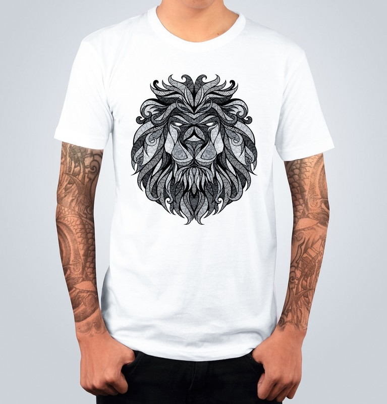 T-shirt LION DRAWING Bianca