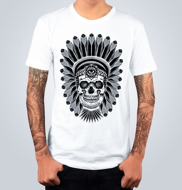 T-shirt INDIAN SKULL Bianca