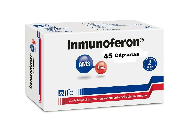 INMUNOFERON 45 Cap. Complemento alimenticio a base de AM3 y Zinc, activa y refuerza las defensas del organismo para favorecer una rápida recuperación de las infecciones y reducir su recurrencia