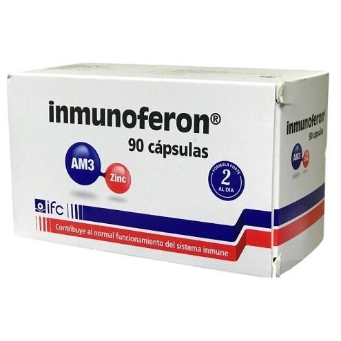 INMUNOFERON 90 Cap. Complemento alimenticio a base de AM3 y Zinc, activa y refuerza las defensas del organismo para favorecer una rápida recuperación de las infecciones y reducir su recurrencia