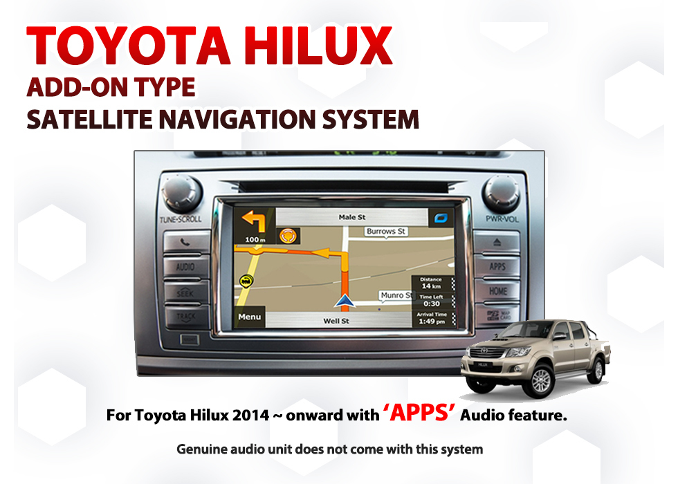 Toyota Hilux 2014 - 2015 Jul build / Factory APPS Audio Integrated GPS  Navigation Installation with full-built-in type Retrofit Kit