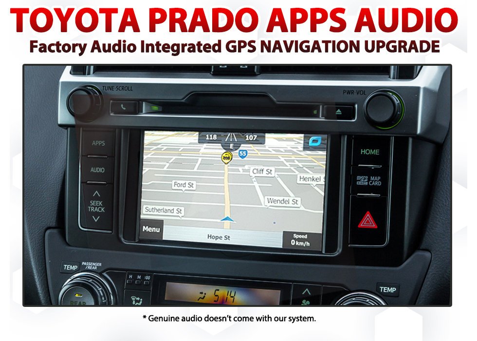 Toyota Prado Factory Audio Integrated GPS Navigation Map Upgrade SAT NAV