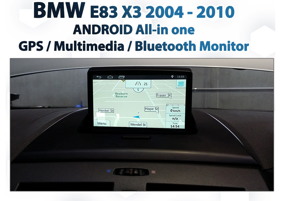 2004 - 2010 BMW E83 X3 Android 4 4 GPS / Multimedia / Bluetooth / USB & SD  Media all-in one Monitor upgrade Kit