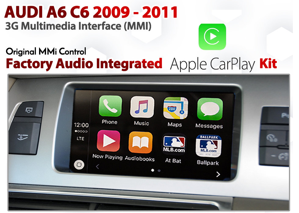 Apple CarPlay for Audi A6 C6 2009 - 2011 3G MMi : Factory Audio controlled  CarPlay Retrofit Kit