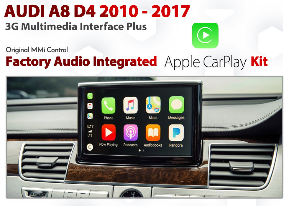 Apple CarPlay for Audi A8 D4 Series 2010 to 2017 : 3G MMi Plus Audio  Integrated Apple CarPlay Retrofit Kit