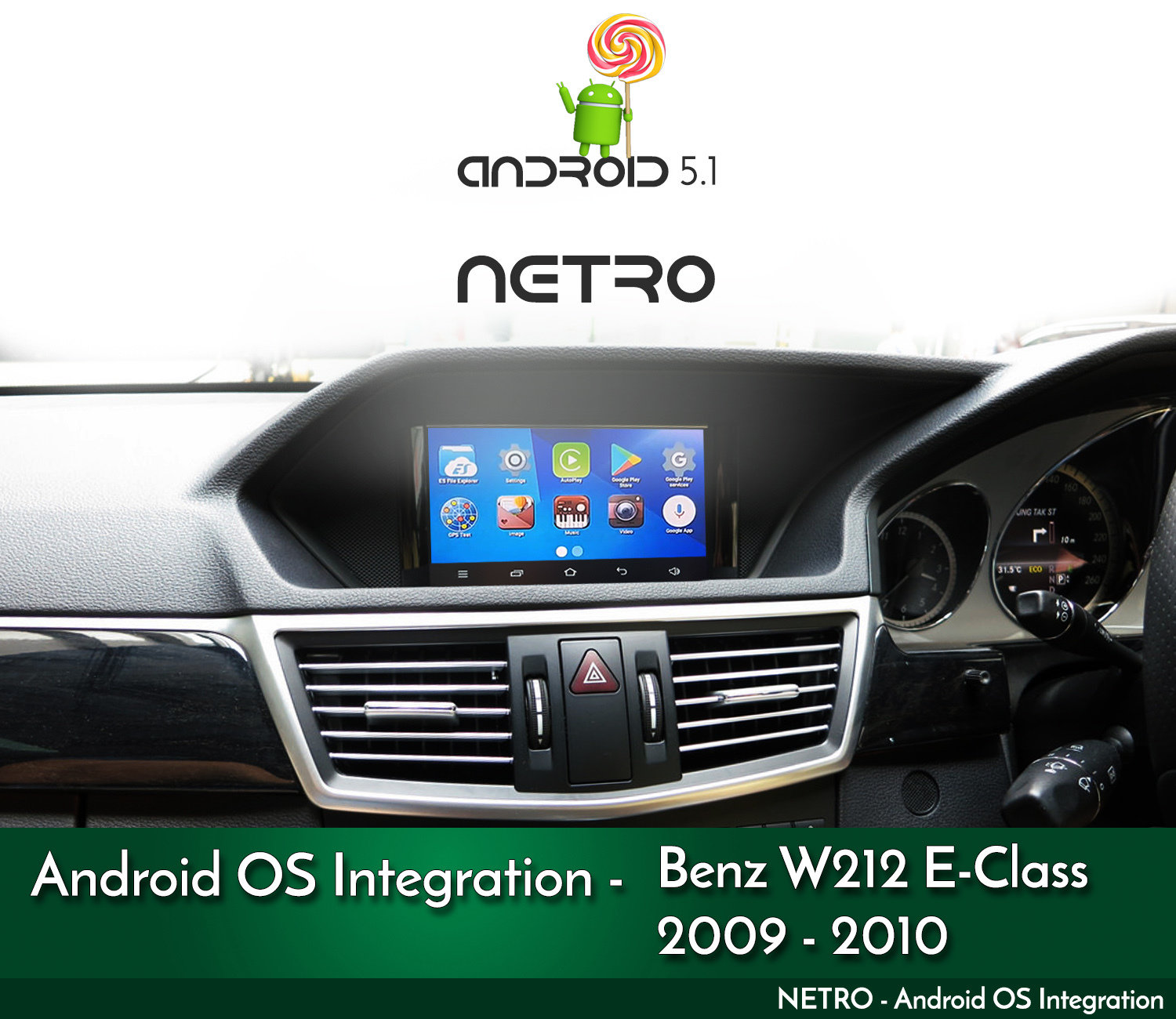 2009 - 2010 - W212 / C207 Mercdeses Benz E-Class NTG4 Audio 20 / COMAND  Integrated Android OS Kit