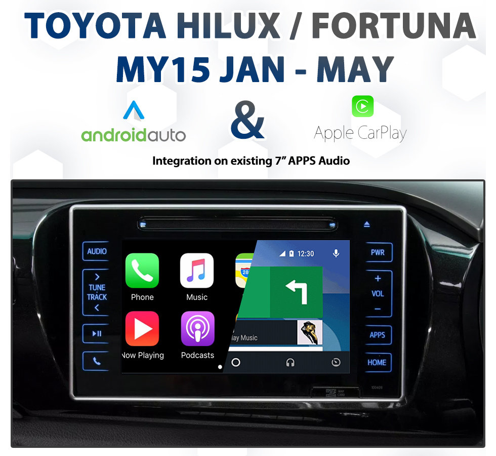 Toyota HILUX / FORTUNER MY14-MY15 May Factory Audio Integrated Apple  CarPlay & Android Auto Integration pack