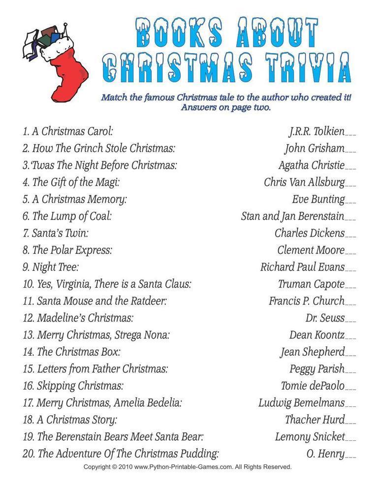 Christmas: Books Trivia Match