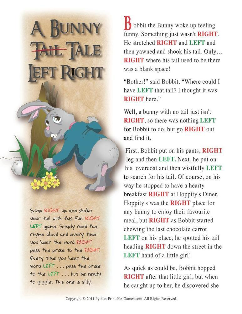 Easter: Bunny Tail Tale Left-Right