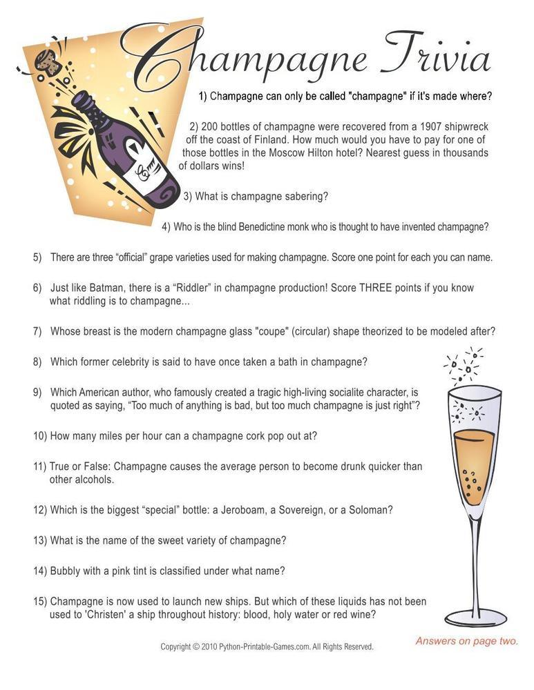 New Year's Eve: Champagne Trivia Game