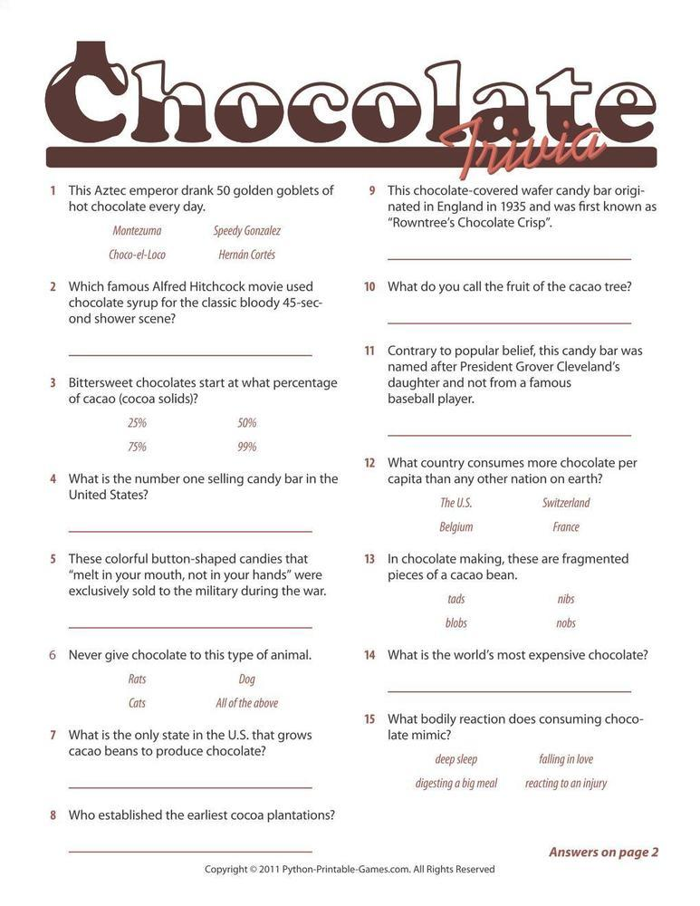 Foods & Drinks Games: Chocolate Trivia Game