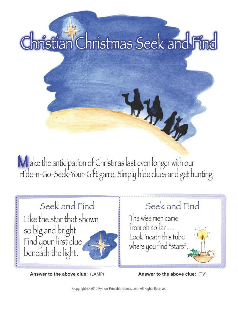 Christmas: Christian Seek And Find Scavenger Hunt