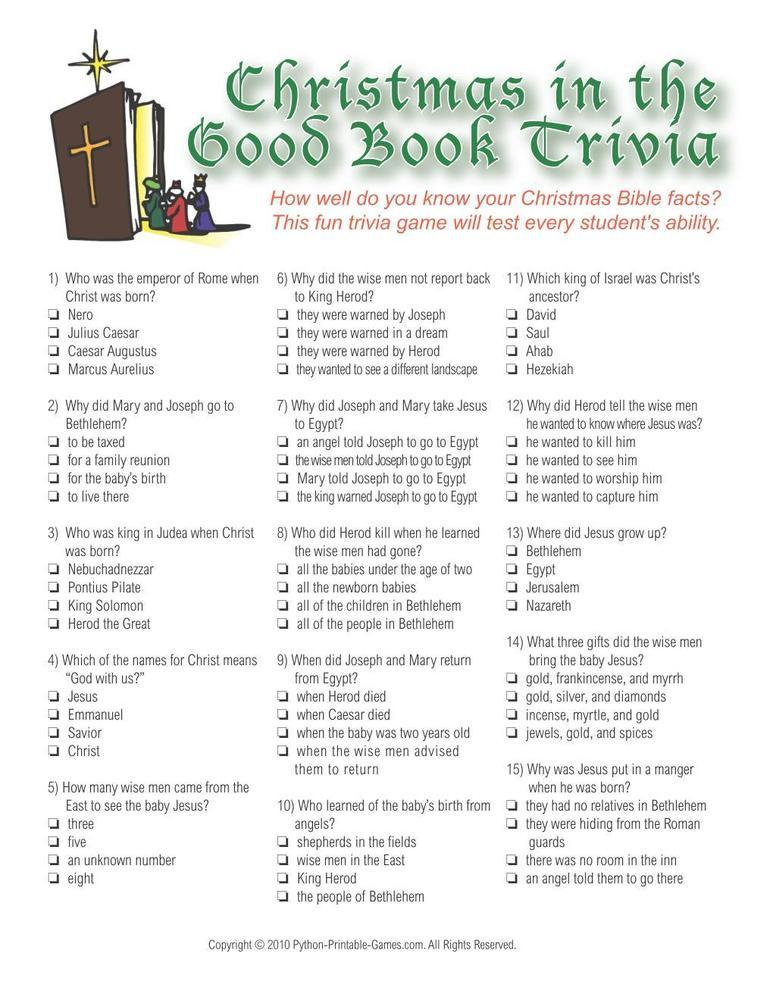 Christmas: Christmas Bible Trivia Game