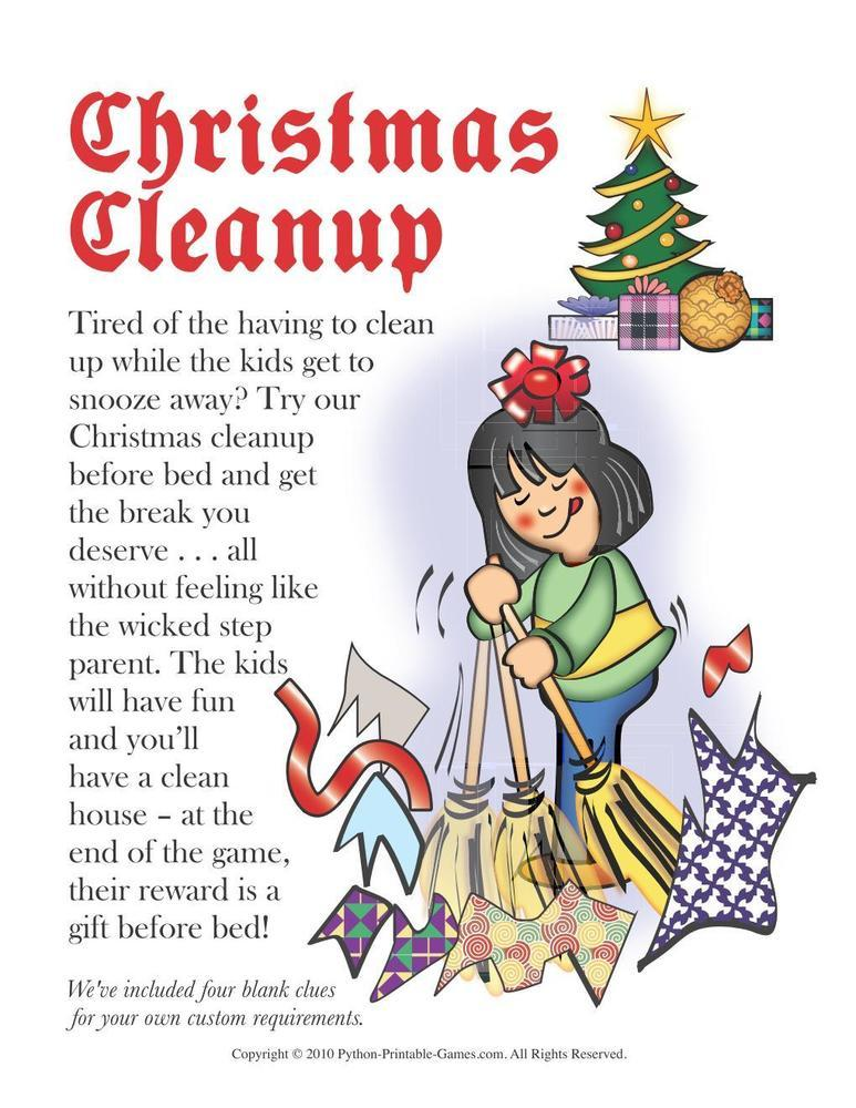 Christmas: Christmas Cleanup Scavenger Hunt For Kids