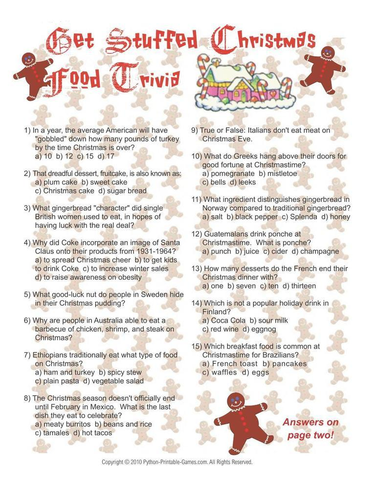 Christmas: Christmas Food Trivia Game