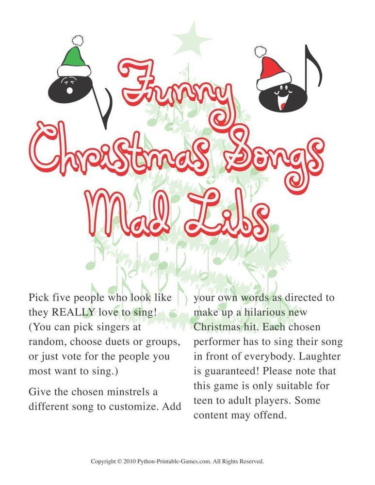 Christmas: Christmas Funny Songs Mad Libs