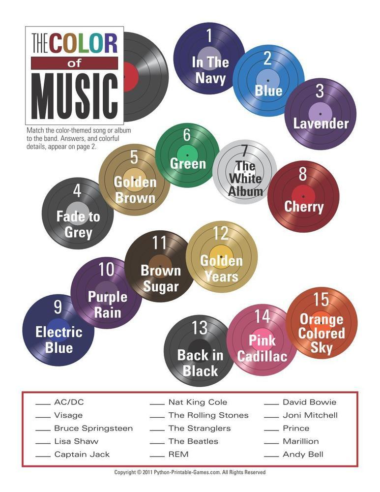 Pop Culture Games: Color of Music Trivia