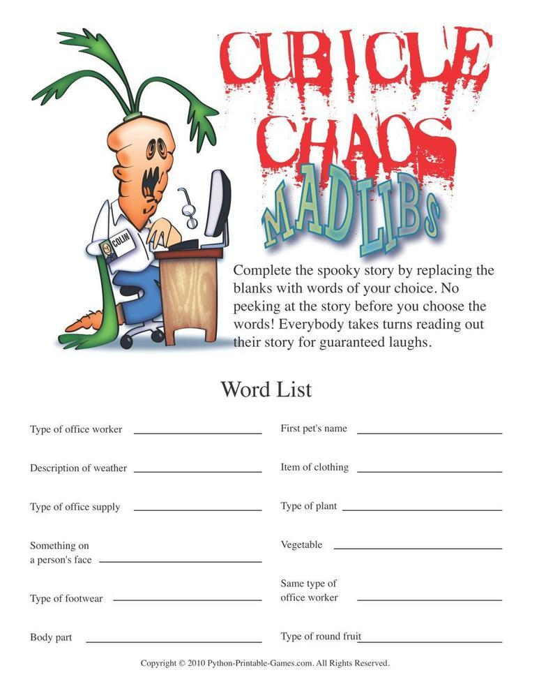 Games for the Office: Cubicle Chaos Mad Libs