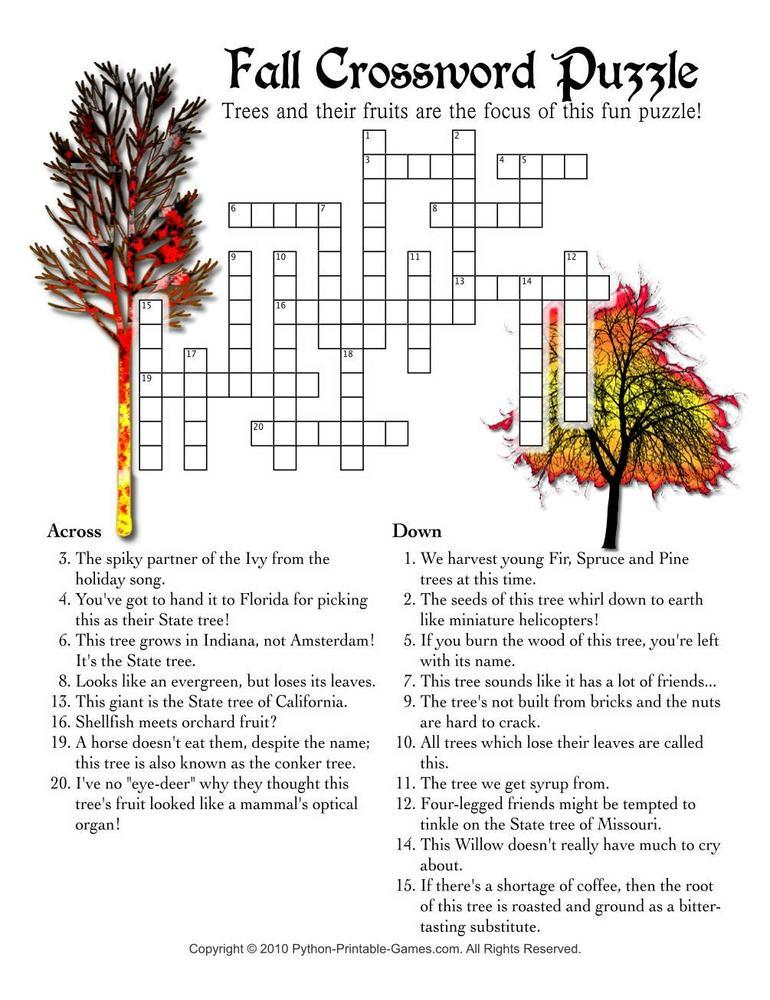 Fall Harvest: Fall Crossword Puzzle