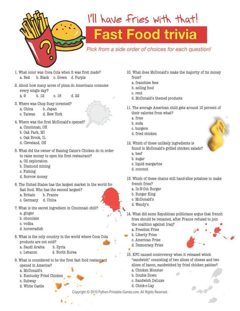 Foods & Drinks Games: Fast Food Trivia