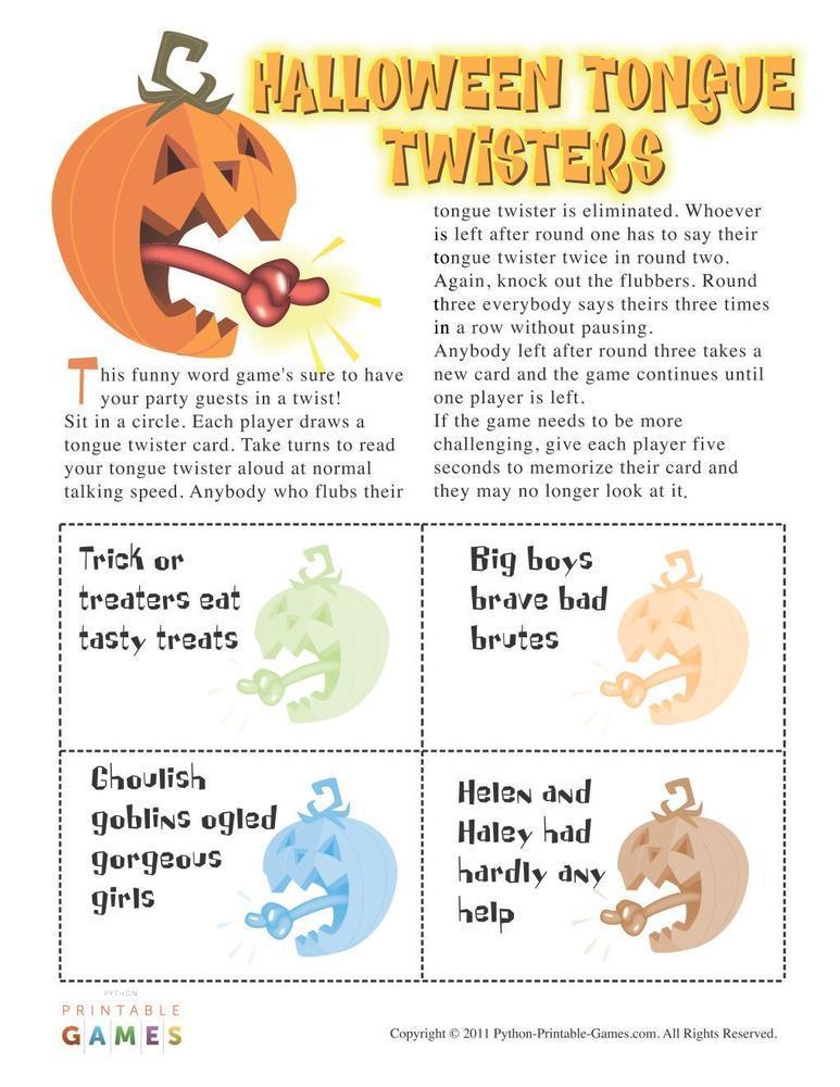 Halloween: Halloween Tongue Twisters