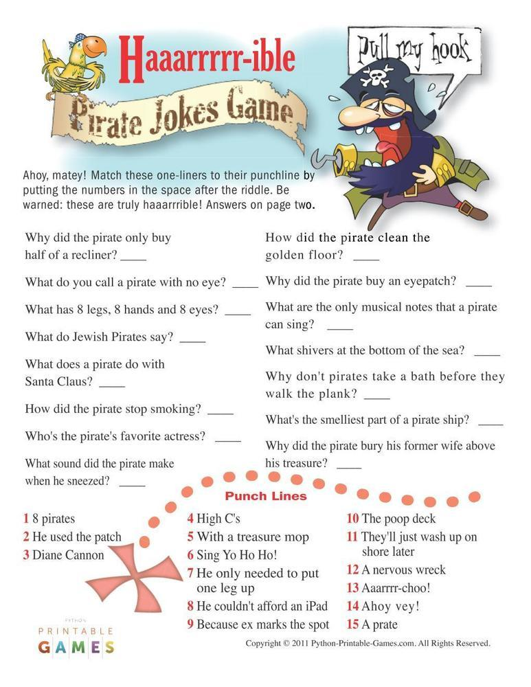 Pirate Party: H-ARR-ible Pirate Jokes