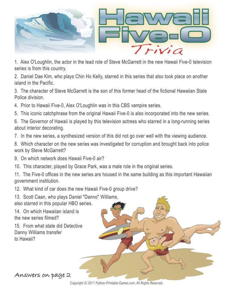 Hawaiian Luau Party: Hawaii Five O Trivia