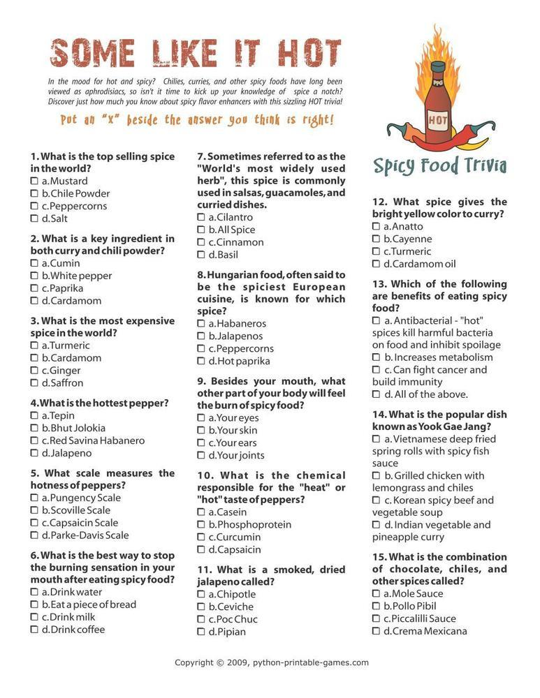 Foods & Drinks Games: Hot and Spicy Food Trivia