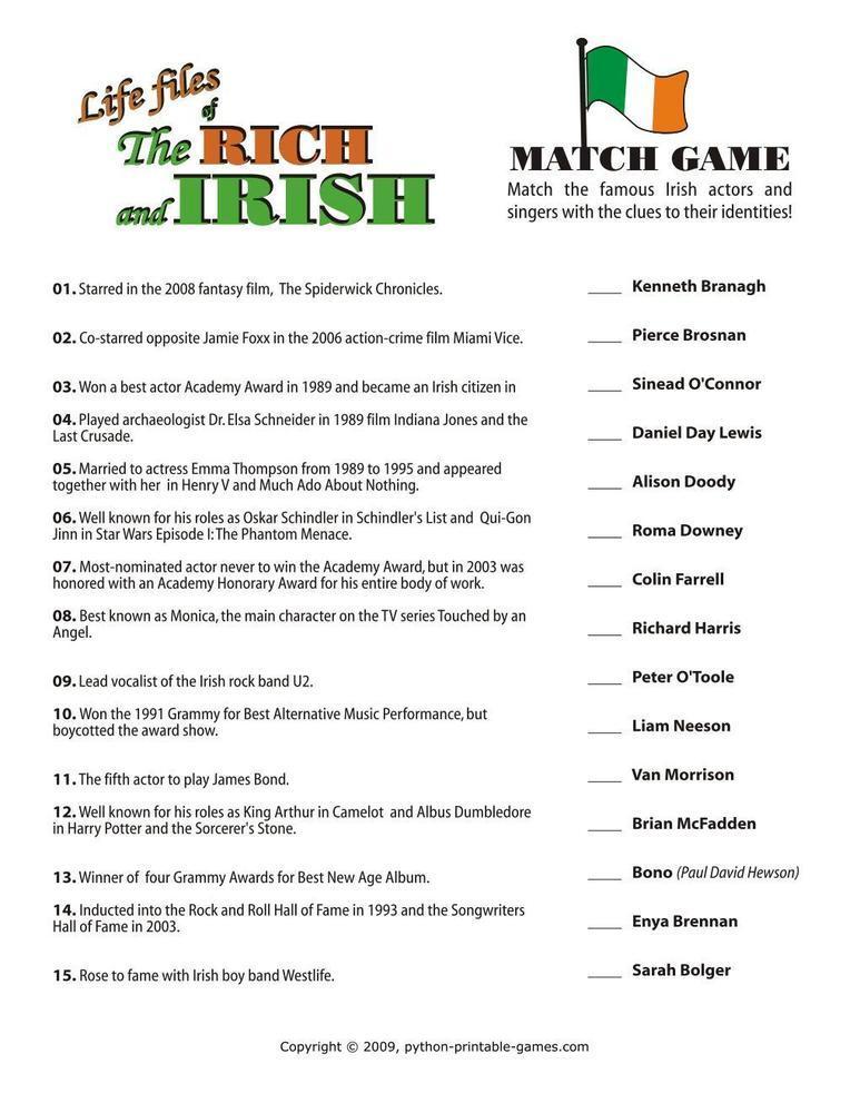 St Patrick's Day: Irish Celebrity Trivia
