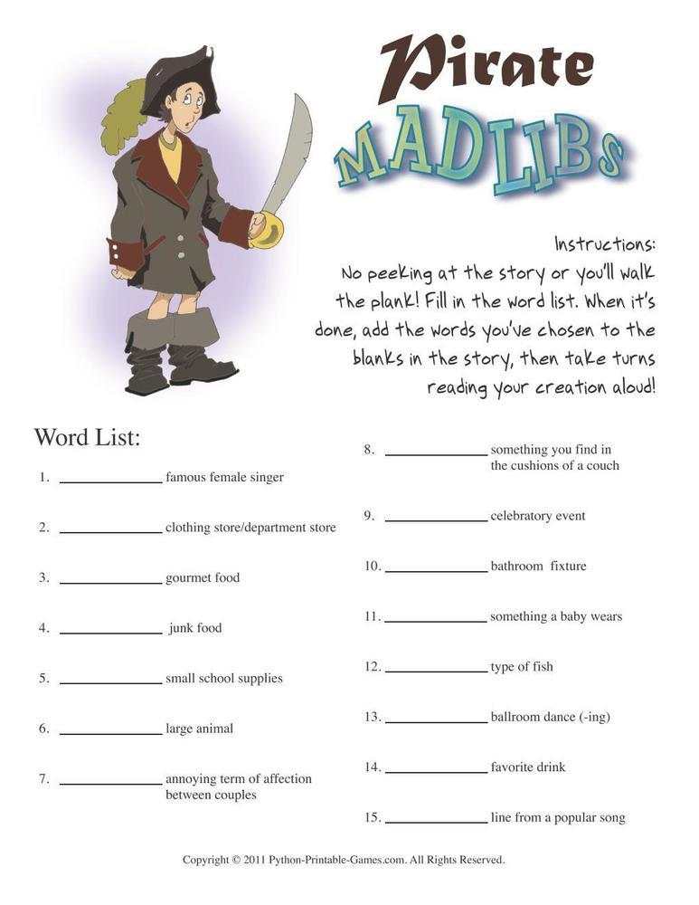 Pirate Party: Mad Libs
