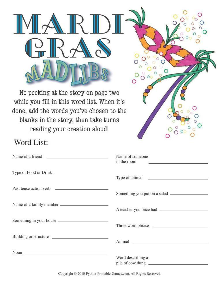 Mardi Gras: Mad Libs Game