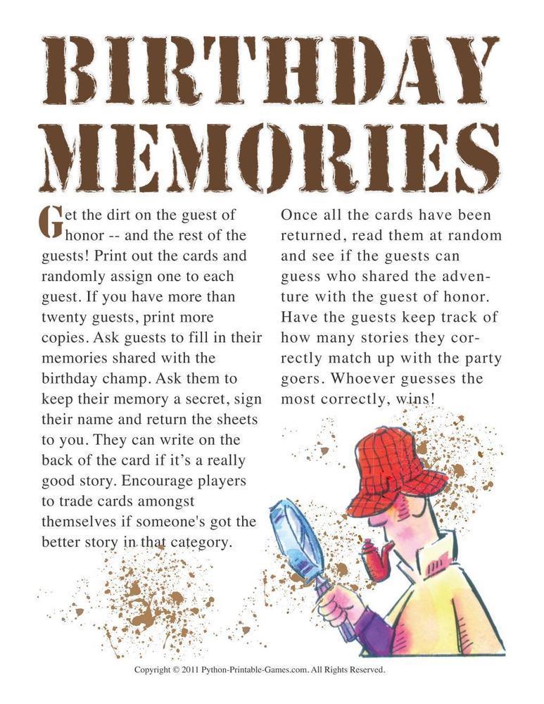 Birthday Party: Memories