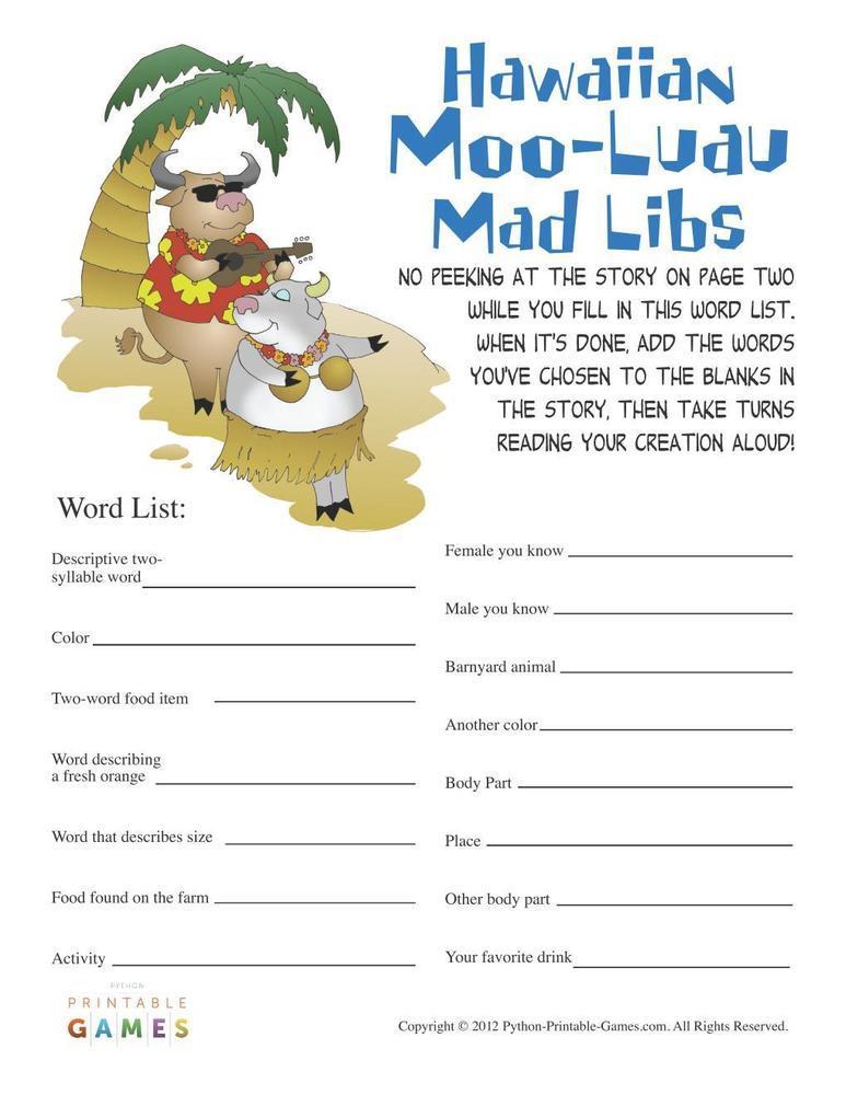 Hawaiian Luau Party: Moo-Luau Mad Libs