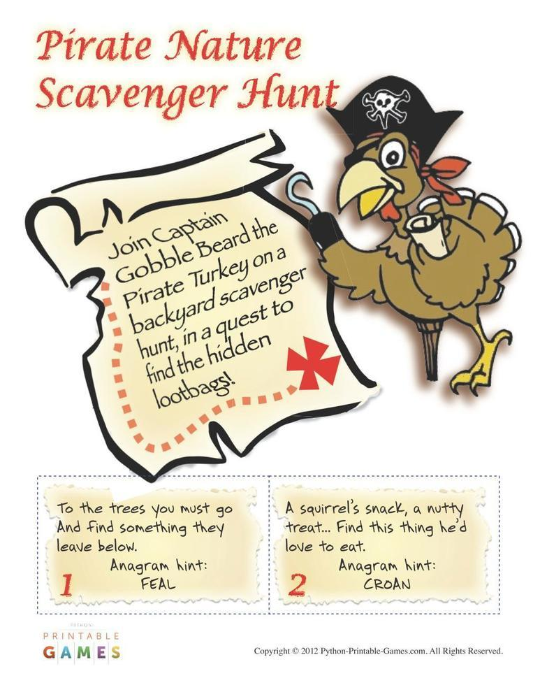 Pirate Party: Nature Scavenger Hunt