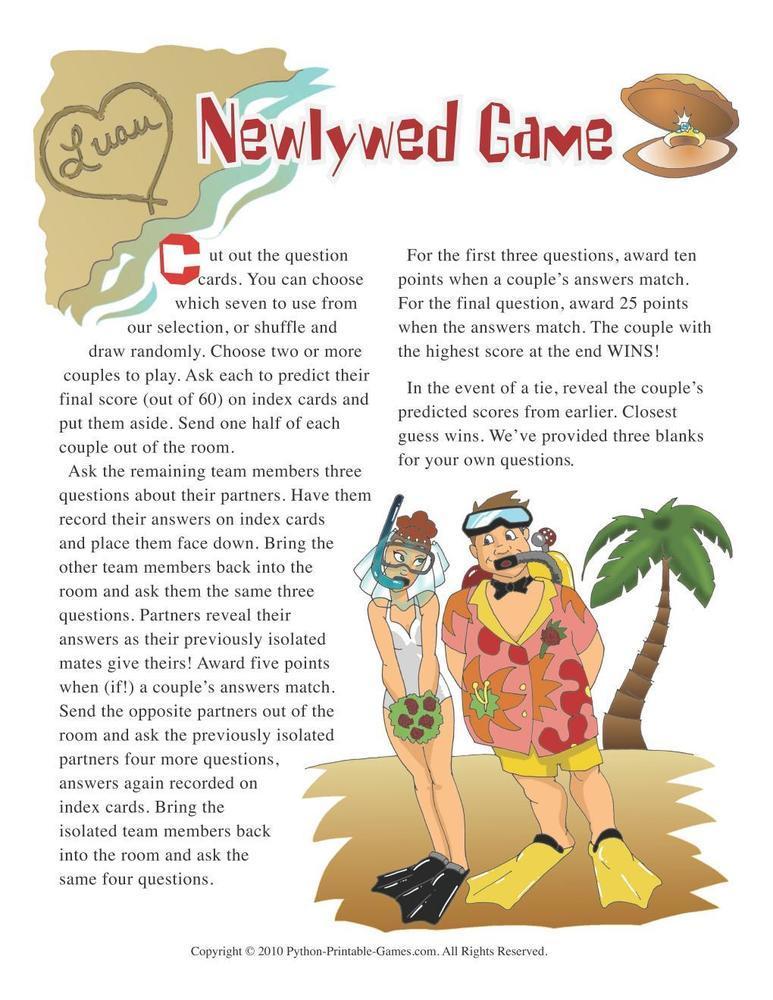 Hawaiian Luau Party: Newlywed Game Questions