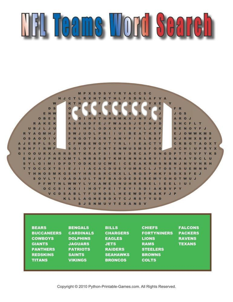 Super Bowl: NFL Teams Word Search