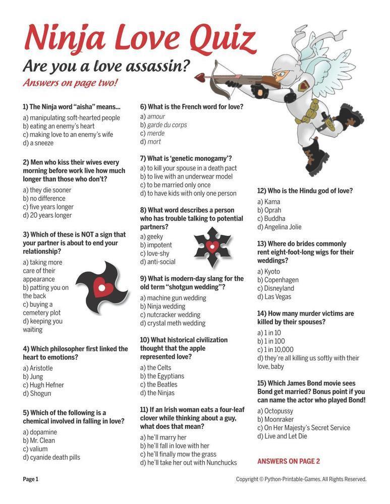 Games for Lovers: Ninja Love Quiz