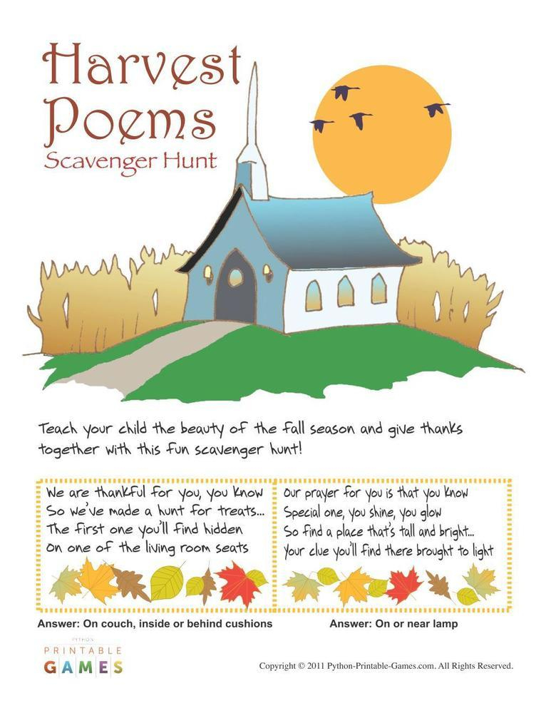 Fall Harvest: Poems Scavenger Hunt