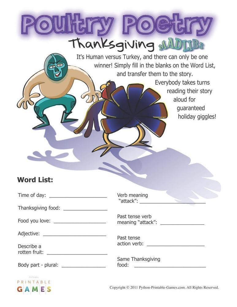 Thanksgiving: Poultry Poetry Mad Libs