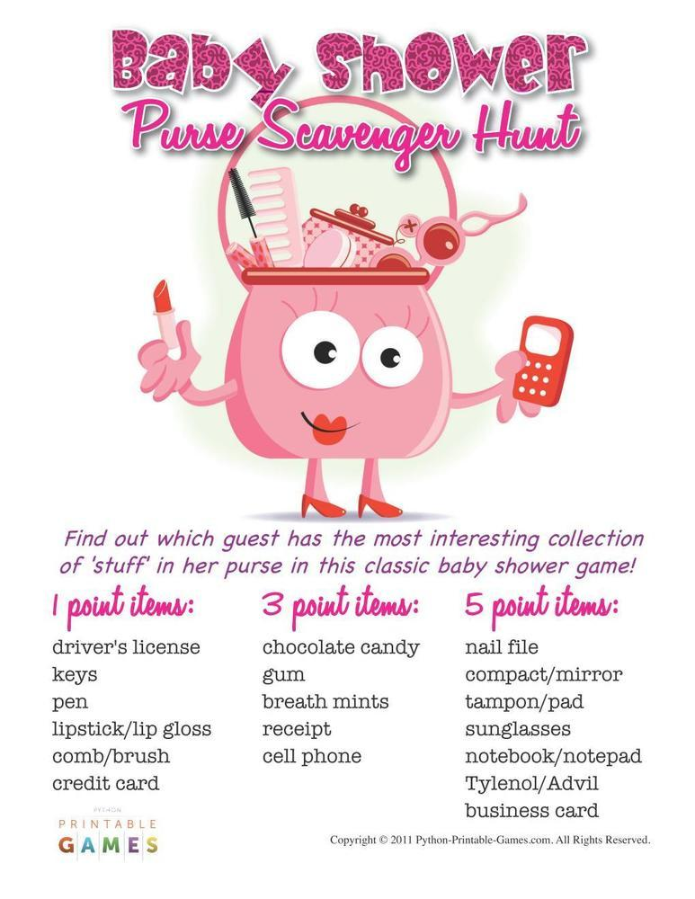 Baby Shower: Purse Scavenger Hunt