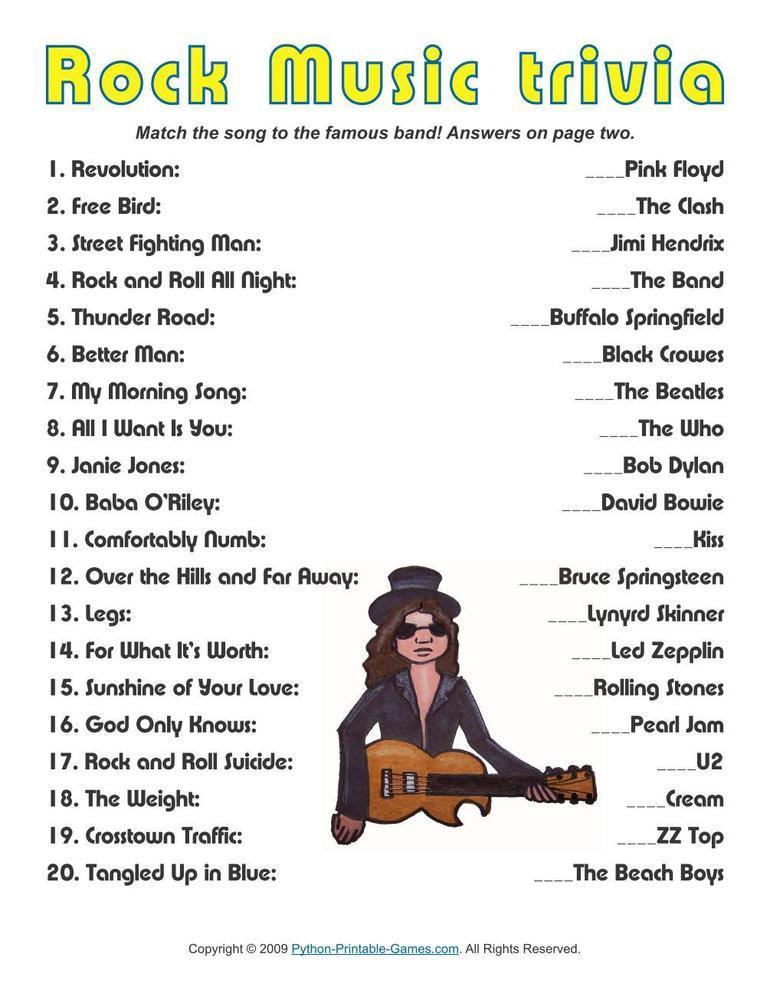 Pop Culture Games: Rock Music Trivia