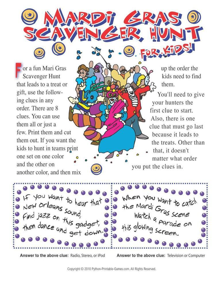 Mardi Gras: Scavenger Hunt For Kids