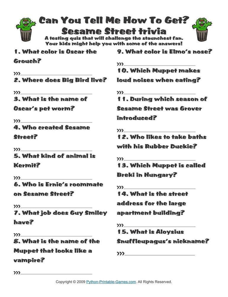 Pop Culture Games: Sesame Street Trivia