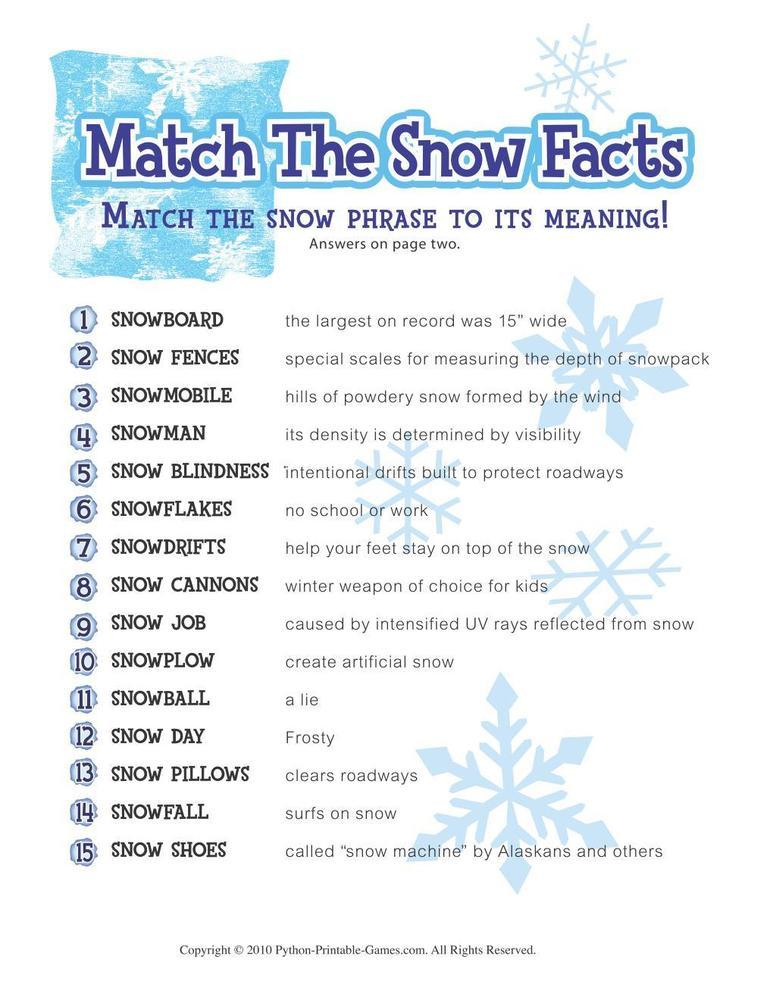 Winter: Snow Facts Match Game